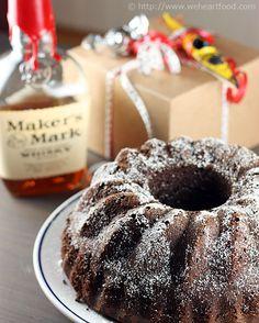 Maker's Mark Bourbon-Soaked Dark Chocolate Bundt Cake--- Also good if you substitute Irish cream Liquor.