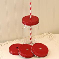 Plastic Mason Jars, Mason Jar Cups with Red Metal Straw Hole Lids