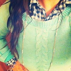 gingham & cable knit sweater