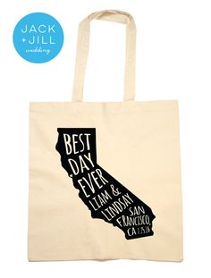 Tote Bag Wedding Favor California Bag