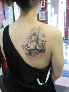 Such a cool ship tattoo... I think this is a galleon, but I really don't know my ships. Bit of a shame since they can be so pretty. :)