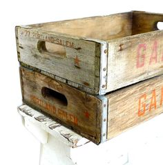 old wooden crates, love.