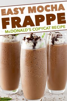 Make your own McDonalds Mocha Frappe at home with this easy copycat recipe! The perfect cold coffee drink for Spring and Summer! Make your own McDonalds Mocha Frappe at home. Frozen Coffee Drinks, Cold Coffee Drinks, Coffee Drink Recipes, Milkshake Recipes, Milkshakes, Recipe For Mcdonalds Mocha Frappe, Recipe For Cold Coffee, Mcdonald's Mocha Frappe Recipe, Recipes