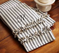 striped ruffled towels