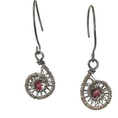Oxidized Sterling Silver Spiral Earrings With Faceted Ruby Accents | bohowirewrapped - Jewelry on ArtFire