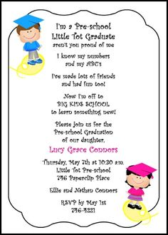 Preschool Invitations Templates Printable preschool graduation