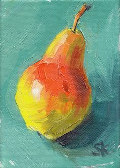 Simple Oil Painting, Fruit Painting, Painting & Drawing, Food Art Painting, Paintings Of Fruit, Art Oil Paintings, Green Paintings, Painting Inspiration, Art Inspo