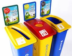 School recycling bins - a great way to get younger children not only involved in recycling, but excited and enthralled