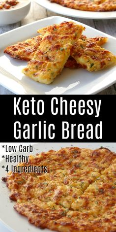 This Keto cheesy Garlic Bread recipe is low carb and you don& need flour to make it! Low carb, gluten-free bread recipes make a great kid-friendly side dish! Only need 4 ingredients that probably already have in your fridge! Ketogenic Recipes, Low Carb Recipes, Diet Recipes, Cooking Recipes, Healthy Recipes, Bread Recipes, Recipes Dinner, Low Carb Meals, Low Calorie Snacks