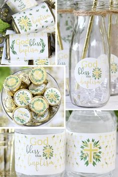 Greenery and Gold Baptism Party Favor Ideas for Distinctivs Party Baptism Themes, Baptism Party Decorations, Baptism Party Favors, Christening Party, Baptism Ideas, Baby Boy Baptism, Graduation Party Supplies, Baby Dedication, Greenery