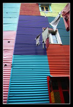 A view of the colored corrugated tin facades of La Boca neighborhood in Buenos Aires.