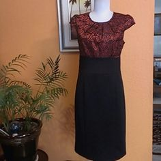Nice Dress Cato Dress Cato,self:92%polyester,8%spandex,Contrast:98%nylon,2%other ( face) 100%polyester(back);black&red metallic, Cato Dresses Midi