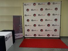 Step and Repeat with table cover and welcome banner Welcome Banner, Table Covers, Repeat, Photo Wall, Signs, Gallery, Frame, Red Carpet, Products