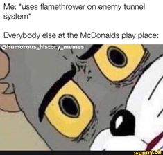 Me uses flamethrower on enemy tunnel system Everybody else at the McDonalds play place ©humorous popular memes on the site iFunny co -