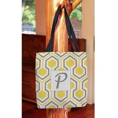 Thumbprintz - Honeycomb Monogram Tote Bag, Women's, Size: 13 inch x 13 inch, Yellow