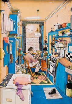 "William Kurelek (Canadian, b. 1927 - "" The Bachelor "" I love this painting. So Catholic, so cute! Canadian Painters, Canadian Artists, Type Illustration, Illustrations, William Kurelek, Libra, Art Gallery Of Hamilton, Art Gallery Of Ontario, Autumn Art"