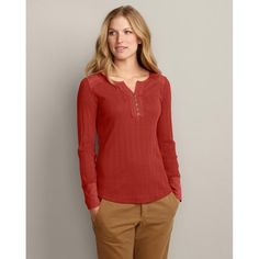Eddie Bauer Long-Sleeve Pointelle Split-Neck Henley, Dark Coral XL Petite Eddie Bauer. $19.99