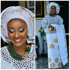 @needlesandthreadnigeria ....Exquisite hand cut lace and also introducing our new damask Asooke wrapper. For more information about our products please 08034311865 .Pretty makeup@zhglam. Beads@beadsbybd_kween. #swsponsoredpost