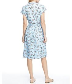 Gal Meets Glam Collection Cecily V-Neck Floral Print Cotton Dress Casual Work Dresses, Dresses For Work, Summer Dresses, Cotton Frocks, Cotton Dresses, Frock Patterns, Gal Meets Glam, Nordstrom Dresses, Fit Flare Dress