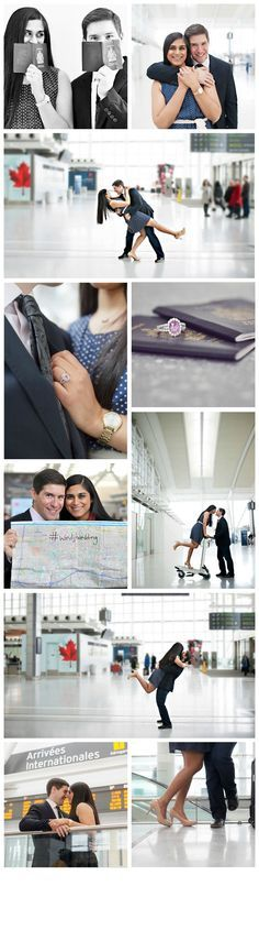 Airplane & Airport engagement photos - so much fun! Click to view more from this airport engagement session in Toronto, Canada. #wedding #photography #love #inspiration To see more of the photos from the shoot, visit http://www.edmondsmckinlayphoto.com/toronto-engagement-photography-corey-and-shaleen-the-moment/