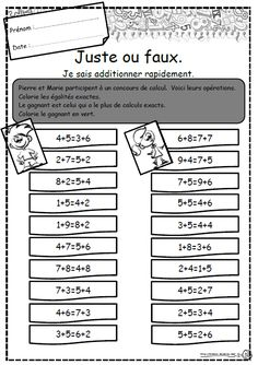 Juste ou faux, additionner, Ce1, calcul rapide Maths Guidés, Math 5, 4th Grade Math, Guided Math, Fun Math, Teaching Math, Math Resources, Math Activities, Diabetes