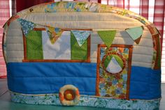 Vintage Caravan Sewing Machine Cover in Turquoise, Yellow, Orange and Greens