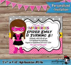 SPIDER GIRL Pink Birthday Invitation by KawaiiKidsDesign on Etsy