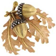Shop diamond and pearl brooches and other antique and vintage brooches from the world's best jewelry dealers. Thanksgiving Cornucopia, Acorn And Oak, Mighty Oaks, Fall Art Projects, Oak Leaves, Autumn Art, Sculpture, Vintage Brooches, Fine Jewelry