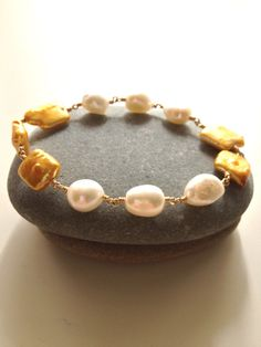 Yellow/Gold Square Coin Pearl & White Baroque Pearl by FMBdesigns, $150.00