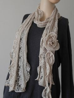Various Color Women Lace Flower Scarves & Wraps | eBay