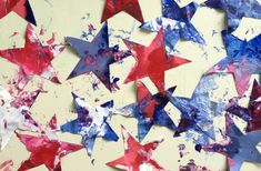 35 fabulous of July recipes and activities for toddlers. These red, white, and blue crafts and recipes are sure to get you and your toddler in the patriotic spirit! Easy Toddler Crafts, Toddler Activities, Star Painting, Blue Crafts, Fourth Of July, Toddlers, Beautiful Pictures, Presents, Babies