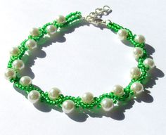Beadwoven Bracelet, Beaded Bracelet, Green and White Bracelet, Prom Accessory, Prom 2015, Seed Bead Bracelet, Mother of the Bride Jewelry  $23.50