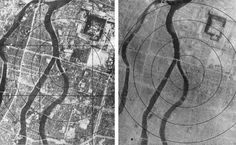 Hiroshima before and after the atomic bombing on August 6th, 1945