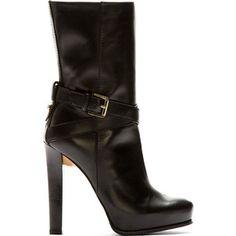 Dsquared2 Black Leather High Heel Vitello Boot 42148f128002