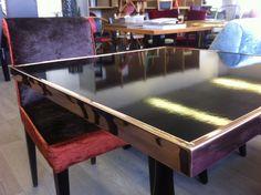 Enamel Table Top   plain black enamel copper border   Focus #enamel #madeinFrance #table #design #interiordesign #interiordecorating #contemporary #copper