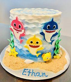 Toddler Birthday Cakes, Shark Birthday Cakes, 2nd Birthday Party For Girl, First Birthday Cakes, Card Birthday, Birthday Ideas, Shark Cake, Paw Patrol Cake, Happy Birthday Greetings