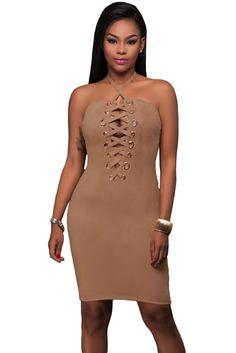 Brown Grommet Detail Halter Suede Bodycon Dress Suede Dresses 9c07a1e2d69b