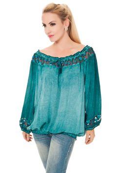 Big Size Tunika Shirt Carmen mit Tüll Borte