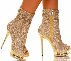 """5 1/2"""" High Sequin Ankle Bootie Shoes #Diamond31"""