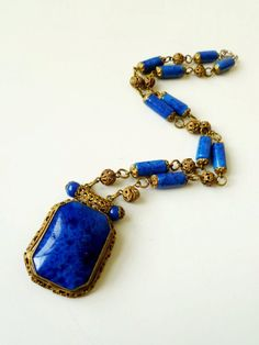 Art Deco Czech Glass Lapis Etruscan Lavalier Necklace $145