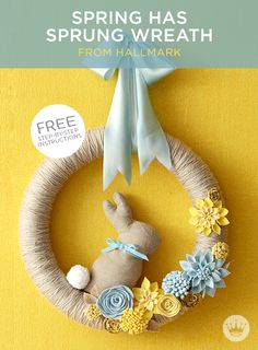 DIY Spring Wreath | Hallmark designer Em Bronson shares instructions and printable templates to make this beautiful, yarn-wrapped wreath with felt flower attachments. Add the optional bunny to get a hop on your Easter decorating! #Hallmark #HallmarkIdeas