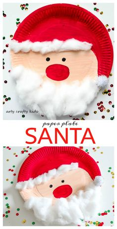 Arty Crafty Kids - Seasonal - Easy Chrsitmas Craft - Paper Plate Santa - Super c. - Arty Crafty Kids – Seasonal – Easy Chrsitmas Craft – Paper Plate Santa – Super cute and Sup - Kids Crafts, Toddler Crafts, Preschool Crafts, Baby Crafts, Craft Activities, Wood Crafts, Santa Activities For Preschool, Recycled Crafts, Christmas Arts And Crafts