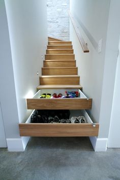 Use your stairs as shoe storage with the help of this small space storage hack idea.