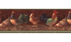 Height is Length is 15 feet, Repeat is 20 Prepasted, strippable, scrubbable, washable. Picture shows the FULL repeat of the border. What you see is what you get. See our Special! Country Chicken, Vinyl Wallpaper, Wallpaper Borders, Exciting News, Country Kitchen, Picture Show, Really Cool Stuff, Primitive, Birds