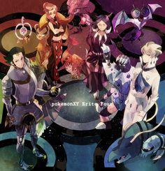 Pokemon X Y elite four Pokemon Pink, Mega Pokemon, Pokemon Comics, Pokemon Fan Art, Pokemon Stuff, Kalos Pokemon, Gym Leaders, Pokemon Special, Pokemon Images