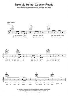 Piano Lessons Online Take Me Home Country Roads Piano Sheet Music Notes, Chords John Denver - John Denver Take Me Home, Country Roads sheet music notes, chords for Melody Line, Lyrics Guitar Tabs Songs, Music Chords, Violin Sheet Music, Lyrics And Chords, Sheet Music Notes, Violin Chords, Music Sheets, Free Printable Sheet Music, Music And The Brain
