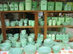 Jadedite! Brimfield, MA. I had a wonderful jadedite dinner set that I put together over the years and earlier this year I sold it on ebay. Now I wish I had kept it a bit longer. My eyes miss seeing that dose of green :)