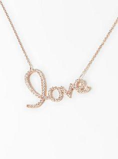 Simulated Diamond & Rose Gold 'Love' Pendant Necklace