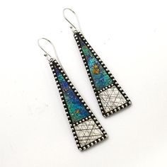 long Iridescent polymer dangle earrings faux by LizardsJewelry