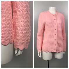 b5559d0f89c733 Vintage 1960s 1970s Pink Sheer Scalloped Knit Cardigan Button Up Sweater    Women s Medium   60s